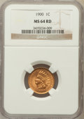Indian Cents: , 1900 1C MS64 Red NGC. NGC Census: (91/132). PCGS Population(216/239). Mintage: 66,833,764. Numismedia Wsl. Price for probl...