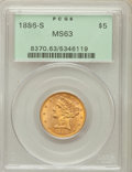 Liberty Half Eagles: , 1886-S $5 MS63 PCGS. PCGS Population (782/252). NGC Census:(1142/389). Mintage: 3,268,000. Numismedia Wsl. Price for probl...