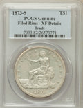 Trade Dollars: , 1873-S T$1 -- Rim Filed -- PCGS Genuine. XF Details. NGC Census:(3/91). PCGS Population (6/153). Mintage: 703,000. Numisme...
