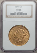Liberty Double Eagles: , 1874 $20 AU58 NGC. NGC Census: (418/265). PCGS Population(106/203). Mintage: 366,800. Numismedia Wsl. Price for problemfr...