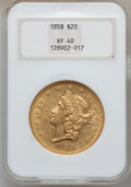 Liberty Double Eagles: , 1858 $20 XF40 NGC. NGC Census: (24/366). PCGS Population (32/216).Mintage: 211,714. Numismedia Wsl. Price for problem free...