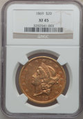 Liberty Double Eagles: , 1869 $20 XF45 NGC. NGC Census: (40/245). PCGS Population (33/149).Mintage: 175,155. Numismedia Wsl. Price for problem free...