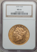 Liberty Double Eagles: , 1878 $20 MS61 NGC. NGC Census: (464/296). PCGS Population(298/308). Mintage: 543,645. Numismedia Wsl. Price for problemfr...