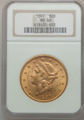 Liberty Double Eagles: , 1897 $20 MS60 NGC. NGC Census: (657/15797). PCGS Population(575/9416). Mintage: 1,383,261. Numismedia Wsl. Price for probl...