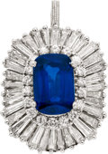 Estate Jewelry:Pendants and Lockets, Sapphire, Diamond, Platinum, White Gold Pendant. ...