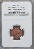 Errors, 1974-D 5C Jefferson Nickel -- Struck on a 1C Planchet -- MS62 Redand Brown NGC....