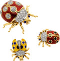 Estate Jewelry:Brooches - Pins, Diamond, Sapphire, Enamel, Gold Brooch Suite, Tiffany & Co.. ...
