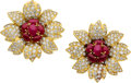 Estate Jewelry:Earrings, Ruby, Diamond, Gold Earrings, Piranesi. ...