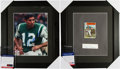 Football Collectibles:Photos, Joe Namath and Gale Sayers Signed Displays Lot of 2 - With Genuine Sayers Rookie Card....