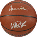 Basketball Collectibles:Balls, Magic Johnson and Jerry West Multi Signed Basketball....