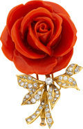 Estate Jewelry:Brooches - Pins, Coral, Diamond, Gold Brooch, Boucheron, French. ...