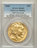 Modern Bullion Coins, 2008 G$50 One-Ounce American Buffalo MS69 PCGS. Ex: .9999 FineGold. PCGS Population (1180/488). NGC Census: (6981/7472...