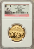 China:People's Republic of China, 2013 China Panda Gold 200 Yuan (1/2 oz), First Release MS70 NGC. NGC Census: (0). PCGS Population (136)....