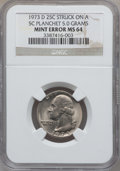 Errors, 1973-D 25C Washington Quarter -- Struck on a 5C Planchet -- MS64NGC. 5.0 Grams....