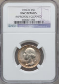 Washington Quarters: , 1936-D 25C -- Improperly Cleaned -- NGC Details. Unc. NGC Census:(0/804). PCGS Population (5/1476). Mintage: 5,374,000. Nu...