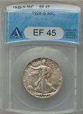 Walking Liberty Half Dollars: , 1929-S 50C XF45 ANACS. NGC Census: (19/641). PCGS Population(24/862). Mintage: 1,902,000. Numismedia Wsl. Price for proble...