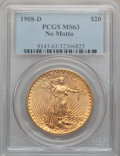 Saint-Gaudens Double Eagles: , 1908-D $20 No Motto MS63 PCGS. PCGS Population (1354/1635). NGCCensus: (1475/653). Mintage: 663,750. Numismedia Wsl. Price...