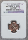 Errors, 1970-D 5C Jefferson Nickel -- Struck on a 1C Planchet, Edge Damage-- NGC Details. AU. 3.1 Grams....
