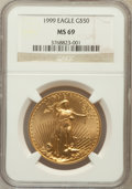Modern Bullion Coins: , 1999 G$50 One-Ounce Gold Eagle MS69 NGC. NGC Census: (1324/98).PCGS Population (1420/14). Numismedia Wsl. Price for probl...
