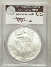 2012 $1 Silver Eagle MS69 PCGS. Ex: Signature of John M. Mercanti, 12th Chief Engraver of the U.S. Mint. PCGS Population...