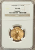 Modern Bullion Coins, 2012 $10 Quarter-Ounce Gold Eagle MS69 NGC. NGC Census: (472/176). PCGS Population (6/1). Numismedia Wsl. Price for proble...