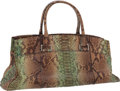 Luxury Accessories:Bags, VBH Limited Edition Large Green & Black Natural PythonEast-West Via Bag. ...