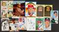 Autographs:Bats, Baseball Greats Signed Oversized Cards, Photographs, Postcards Lotof 12....