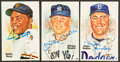 Baseball Collectibles:Others, . Willie Mays, Mickey Mantle and Duke Snider Signed Perez SteelePostcards Lot of 3....
