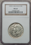 Commemorative Silver: , 1938-S 50C Arkansas MS64 NGC. NGC Census: (223/175). PCGSPopulation (297/251). Mintage: 3,156. Numismedia Wsl. Price forp...