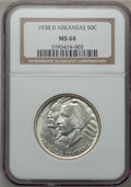 Commemorative Silver: , 1938-D 50C Arkansas MS64 NGC. NGC Census: (213/224). PCGSPopulation (308/350). Mintage: 3,155. Numismedia Wsl. Price forp...