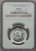 Commemorative Silver: , 1937-D 50C Texas MS65 NGC. NGC Census: (440/559). PCGS Population(717/625). Mintage: 6,605. Numismedia Wsl. Price for prob...