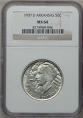 Commemorative Silver: , 1937-D 50C Arkansas MS64 NGC. NGC Census: (293/389). PCGSPopulation (418/508). Mintage: 5,505. Numismedia Wsl. Price forp...
