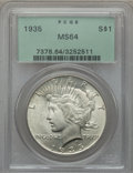 Peace Dollars: , 1935 $1 MS64 PCGS. PCGS Population (2208/928). NGC Census:(1982/801). Mintage: 1,576,000. Numismedia Wsl. Price for proble...