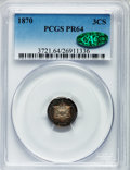 Proof Three Cent Silver, 1870 3CS PR64 PCGS. CAC....