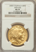 Modern Bullion Coins, 2008-W $50 One Ounce Gold Buffalo MS70 NGC. .9999 Fine. NGC Census:(1119). PCGS Population (133)....