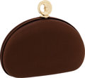 Luxury Accessories:Bags, Kieselstein Cord Brown Grosgrain Moon Evening Bag with ShoulderStrap. ...