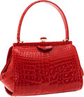 Luxury Accessories:Bags, Locati Italy Centennial Numbered Edition Shiny Red Alligator SmallTote Bag. ...
