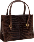 Luxury Accessories:Bags, Gucci 1960's Brown Crocodile Stirrup Tote Bag. ...