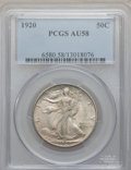 Walking Liberty Half Dollars: , 1920 50C AU58 PCGS. PCGS Population (124/772). NGC Census:(100/591). Mintage: 6,372,000. Numismedia Wsl. Price for problem...