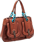Luxury Accessories:Bags, Fendi Brown Snakeskin B-Bag with Turquoise Chain Straps. ...