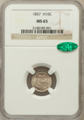 Seated Half Dimes: , 1857 H10C MS65 NGC. CAC. NGC Census: (108/56). PCGS Population(64/26). Mintage: 7,280,000. Numismedia Wsl. Price for probl...