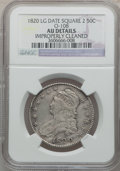 Bust Half Dollars, 1820 50C Square Base Knob 2, Large Date -- Improperly Cleaned --NGC Details. AU. O-108. PCGS Population...
