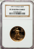 Modern Bullion Coins: , 1991-P G$25 Half-Ounce Gold Eagle PR70 Ultra Cameo NGC. NGC Census:(591). PCGS Population (175). Mintage: 53,125. Numismed...