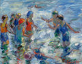 American, FRANCESCO J. SPICUZZA (American, 1883-1962). Ocean Bathers.Oil on board. 7 x 9 inches (17.8 x 22.9 cm). Signed lower ri...