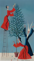 Fine Art - Painting, European:Contemporary   (1950 to present)  , CARLO CANEVARI (Italian, 1922-1996). Nuns and Priest Decoratingthe Tree. Oil on panel. 11 x 6-3/4 inches (27.9 x 17.1 c...