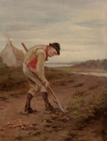 American, HOWARD HELMICK (American, 1845-1907). A Man DiggingPotatoes, 1876. Oil on canvas. 22-1/2 x 17 inches (57.2 x 43.2cm). ...
