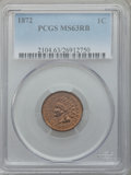 Indian Cents, 1872 1C MS63 Red and Brown PCGS....