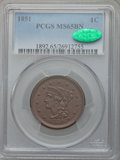 Large Cents, 1851 1C MS65 Brown PCGS. CAC. N-13, R.1....