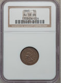 Indian Cents: , 1865 1C Fancy 5 AU58 NGC. NGC Census: (30/266). PCGS Population(42/136). Mintage: 35,429,288. Numismedia Wsl. Price for pr...
