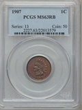 Indian Cents: , 1907 1C MS63 Red and Brown PCGS. PCGS Population (248/675). NGCCensus: (157/592). Mintage: 108,138,616. Numismedia Wsl. Pr...